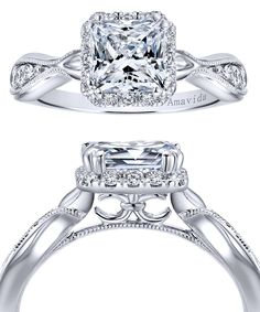 A twist of fate. An 18k White Gold Diamond Victorian Halo Engagement Ring by Gabriel & Co. We love all the wonderful details and diamonds in this gorgeous engagement ring. Discover your perfect bridal set with Gabriel & Co.
