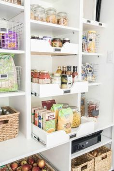 I've put together a list of creative kitchen pantry organization projects which will transform the way you view your pantry! Find out more in the post below. Kitchen Pantry Organization Projects Th… Pantry Shelving, Pantry Storage, Pantry Organization, Kitchen Storage, Organized Pantry, Food Storage, Pantry Ideas, Shelving Ideas, Pantry Diy