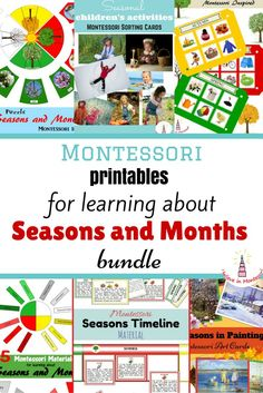 Seasons and Months Montessori Printables Cards Bundle with 6+ Montessori high quality materials