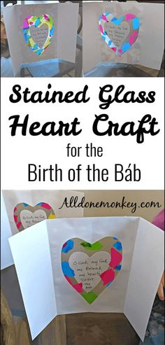 This beautiful stained glass heart craft is easy to make and requires few materials. Perfect for kids to make for the Bahai holy day the Birth of the Bab. Rock Painting Ideas Easy, Painting For Kids, Fun Crafts, Crafts For Kids, Simple Crafts, Diy Projects For Adults, Geography For Kids, Celebration Around The World, Painted Rocks Kids