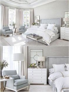 modern farmhouse master bedroom decor, farmhouse bedroom design rustic neutral bedroom design with white walls and white bedding nightstand decor, side table styling and wall art Modern Bedroom Design, Room Interior Design, Home Interior, Bedroom Designs, Design Minimalista, Small Master Bedroom, Master Bedrooms, Master Suite, Bedroom Suites