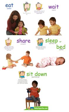 Baby Signs® Action Signs Poster Pack. Printable Poster Pack with the following action signs: Share, Sit Down, Sleep/Bed, Wait and Eat.  Poster Packs are Spanish Inclusive!