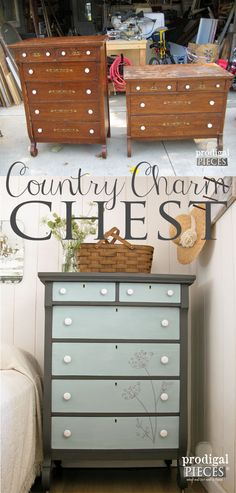 Vintage Furniture Vintage Empire Chest Gets Country Charm Makeover with Queen Anne's Lace Flowers… - An outdated empire chest of drawers has much potential. Once it is given some country charm with Queen Anne's Lace design, it has a rustic farmhouse feel. Diy Furniture Projects, Repurposed Furniture, Furniture Making, Furniture Makeover, Vintage Furniture, Painted Furniture, Home Furniture, Unique Furniture, Bedroom Furniture