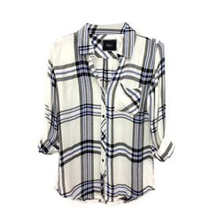Rails Hunter Plaid Shirt in White/Purple (1 810 ZAR) ❤ liked on Polyvore featuring tops, shirts, blouses, flannels, white top, plaid shirts, white shirt, flannel shirts and button front top