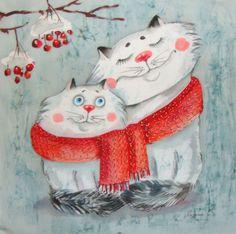 Noel Christmas, Christmas Cats, Christmas Pictures, Winter Pictures, Winter Illustration, Christmas Illustration, Cute Illustration, Image Chat, Winter Painting