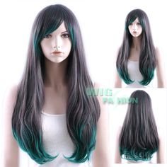 long black green wig ombre