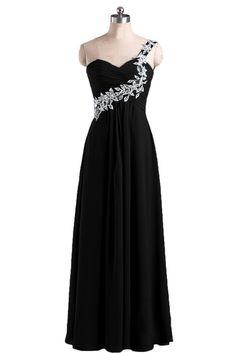 Sunvary Grace Appliqued One Shoulder Chiffon Bridesmaid Dress Evening Prom Dress Long - US Size 2- Black