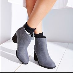 Urban outfitters Ecote ankle bootie chunky heel Brand new only worn in the house. Great for any season. Super comfy because of the chunky heal. The box says black but they look grey to me Urban Outfitters Shoes Ankle Boots & Booties
