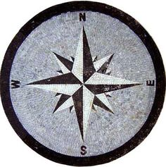 MD612 black & white compass on grey background