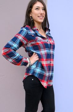 Blue & Red Plaid Flannel Shirt, available in store DREAMGIRLS & www.shopdreamgirls.com