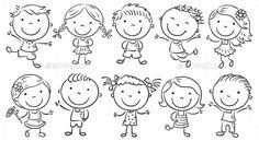 Ten happy cartoon kids, black and white outline. - Ten happy cartoon kids, black and white outline. Happy Cartoon, Cartoon Faces, Cartoon Kids, Cartoon Drawings, Female Cartoon, Girl Cartoon, Doodle Drawings, Doodle Art, Easy Drawings