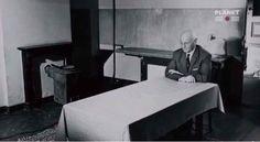 Otto Frank sitting alone in the Secret Annex, 1957