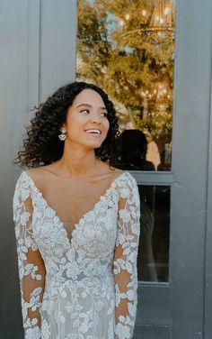 LACE LONG SLEEVE WEDDING DRESS WITH STATEMENT BACK Lace Wedding Dress, Long Sleeve Wedding, Designer Wedding Dresses, Bridal Dresses, Stella York Bridal, Bodice, Neckline, Criss Cross, Lace Design
