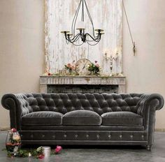 This sofa is EVERYTHING... Gray velour tufted sofa with loose seat cushions – Pottery Barn via Atticmag