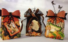 G 45 An Eerie Tale tag treat bags made with the tag shape on the backside of the new 12 x 12 papers and Marianne Design bow die By Anne Rostad