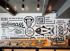 29 Most Popular Ideas for wall graphics restaurant typography Environmental Graphic Design, Environmental Graphics, Office Wall Graphics, Office Mural, Office Walls, Cafe Wall, Removable Wall Murals, Deco Originale, Piece A Vivre