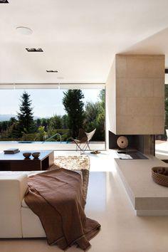 moderne holz residenz spanien schlafzimmer natur umgebung