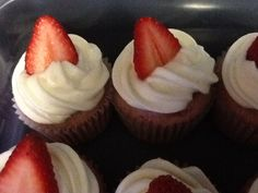 Strawberry Cupcakes (Adapted from Sandra Lee's Blushing Strawberry Cupcakes-Foodnetwork.com) ***I used her recipe as my base. I used 1 pound of strawberries but only pureed half. The other half I diced up and folded into batter. I used Pillsbury Super Moist white cake mix.  Did not do her frosting. I made a simple cream cheese frosting...1 block of cream cheese, 1 stick of unsalted butter, 3-4 cups of powdered sugar to taste.