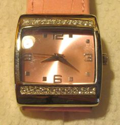 Women's Mary Kay Pink Rhinestone Leather Band Watch NEW Battery #MaryKay