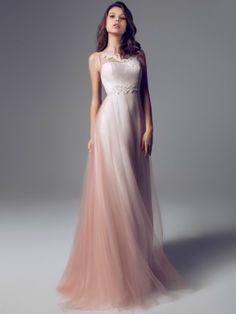 Get inspired: A soft, flowing blush ombre wedding gown from Blumarine (@Blumarine). This looks so romantic!