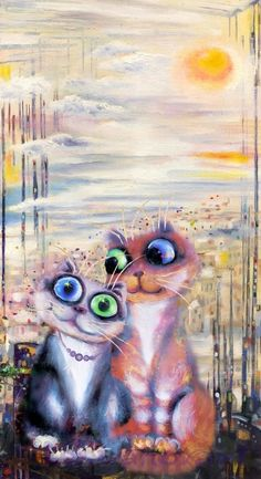 "Cat Painting ""Love story"". Artist Boris Kasynov 