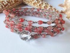 Coral crochet wrap bracelet multiple wrap by NimbleKnotsStudio, $25.00