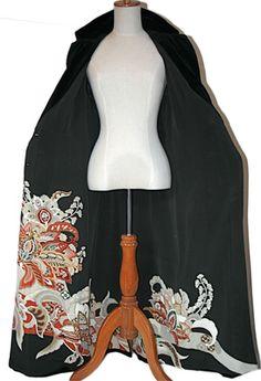 Fitted velvet coat lined with silk kimono - Vintage Kimonos