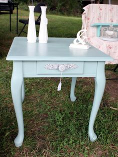Annie Sloan Chalk Paint end table in Duck Egg