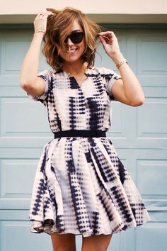 An abstract printed dress is perfect for day or night. A moody color palette is totally trending for fall.