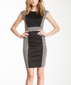 This Black & White Geometric Panel Dress is perfect! #zulilyfinds