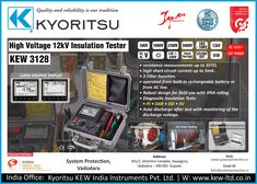 #KYORITSU HIGH VOLTAGE #INSULATIONTESTERS KEW 3128 • Microprocessor controlled high voltage insulation resistance tester with Diagnostic functions. • Suitable for analyzing the insulation characteristics of cables, transformers, motors, generators, high-pressure switches, insulators, wiring installations, etc. • 6 ranges: 500V, 1000V, 2500V, 5000V, 10000V, 12000V Fine adjustment of voltage setting at each range is also possible http://systemprotection.in/
