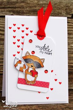 Creative Crafts by Lynn: Have a Heart Raccoon Valentine - Sweetheart Tails stamp set by Newton's Nook Designs