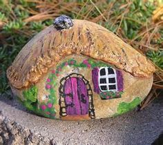 Miniature Stone Cottage hand painted rock fairy house charity donation ...