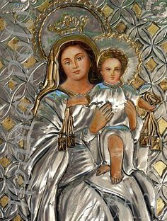 Hail Holy Queen, Aluminum Foil Art, Image Jesus, Metal Embossing, Tin Art, Drawing Projects, Madonna And Child, Blessed Virgin Mary, Children Images