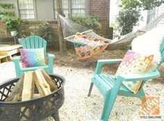 Two essentials for outdoor entertaining this summer: A fire pit and a hammock!