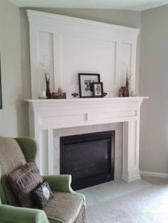 DIY Fireplace Makeover DIY fireplace mantle and surround Fireplace Update, Faux Fireplace, Fireplace Remodel, Fireplace Surrounds, Fireplace Design, Fireplace Ideas, Mantle Ideas, Fireplaces, Fireplace Whitewash