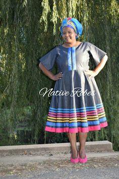 Pedi Traditional Attire, Sepedi Traditional Dresses, African Attire, African Dress, Sewing Patterns Free, Free Pattern, Africans, Wire Baskets, African Design