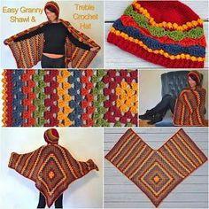 67 Ideas crochet poncho granny square drops design for 2019 Poncho Au Crochet, Crochet Poncho Patterns, Crochet Shawls And Wraps, Love Crochet, Crochet Scarves, Diy Crochet, Crochet Clothes, Knitting Patterns, Crochet Granny