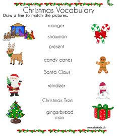 Christmas Vocabulary Worksheets for preschoolers Money Worksheets, Vocabulary Worksheets, Preschool Worksheets, English Vocabulary, Preschool Activities, Tracing Worksheets, Christmas Worksheets, English Lessons For Kids, Preschool Christmas
