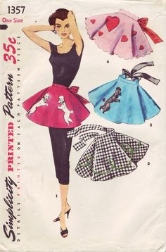 Simplicity 1357 ©1955 poodle skirt aprons