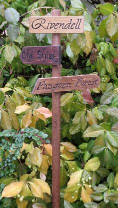 Lord of the Rings Garden Sign - Rivendell - The Shire - Mordor - LotR - The Hobbit - Fictional Places - Sign Post by OohhhBurn on Etsy https://www.etsy.com/listing/165384587/lord-of-the-rings-garden-sign-rivendell
