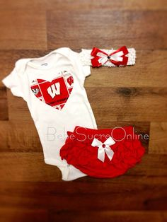 Wisconsin Badgers Outfit and Headband by BebeSucreOnline on Etsy