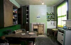 No modern appliances: The kitchen at 7 Blyth Grove has a working fire, butler's sink and wooden larder