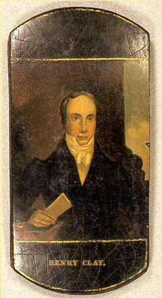 Papier-Mache; Cigar Case, Henry Clay, circa 1840.    Item A001380