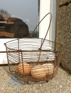 French vintage metal egg collecting basket France wire.