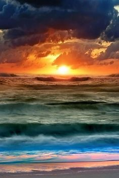 "Art Inspiration: Beautiful sunset, blue and orange, along with lots of waves ""Nature Collection 597 wallpaper"" No Wave, Foto Picture, Sunset Wallpaper, Nature Wallpaper, Hd Wallpaper, Waves Wallpaper, Landscape Wallpaper, Wallpaper Gallery, My Sun And Stars"