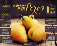 La pera es junto con la manzana una de las frutas más consumidas. Como fruta que es, destaca por su bajo contenido calórico, gran cantidad de agua y un importante aporte de vitaminas, minerales y fibra. Pero exactamente, ¿qué nos aporta una pera?
