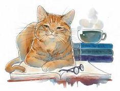 Funny orange cat illustration - Cat art. #CatIllustration