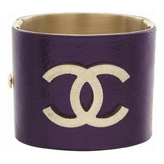 Chanel Purple Logo Cuff Bracelet