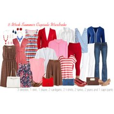 Summer Work Capsule Wardrobe: Pink, Brown, Red & Blue